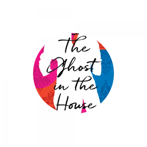he cover of the novel The Ghost in the House by author Sara O'Leary, featuring an illustration of a white shirt on a multi-coloured background.