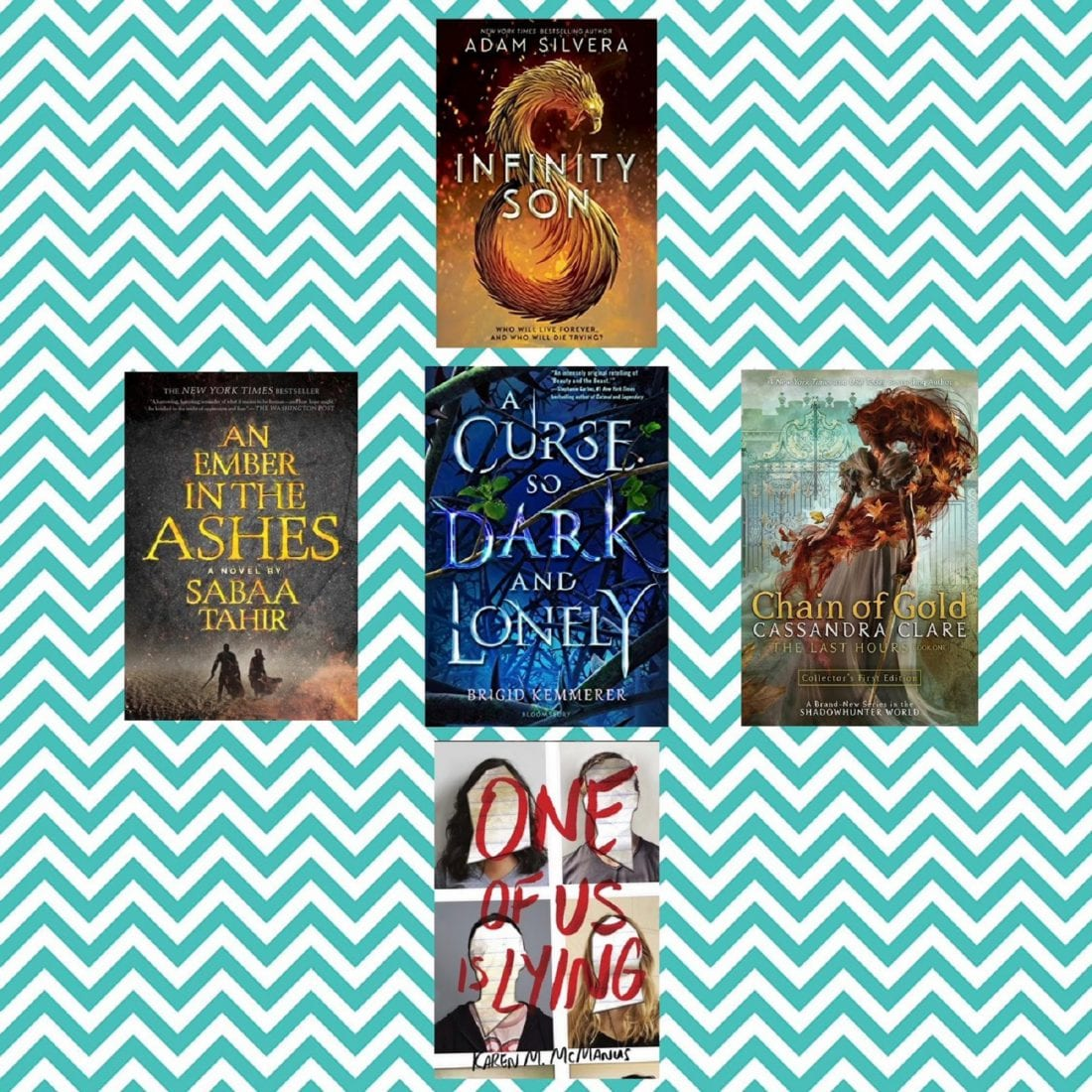 ALT TEXT: A Photo Collage of Different YA Series, An Ember in the Ashes by Sabaa Tahir, Chain of Gold by Cassandra Clare, One of Us Is Lying Karen M. McManus, A Curse So Dark and Lonely by Brigid Kemmerer, Infinity Son by Adam SIlvera YA Series Round Up