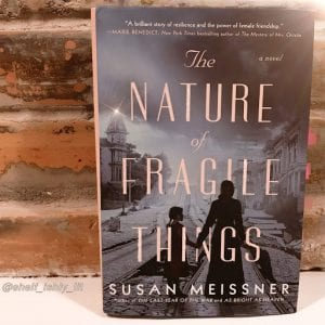 The cover of the book The Nature of Fragile Things by Susan Meissner leans against a brick wall