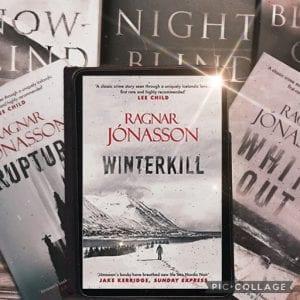 IMAGE: The book Winterkill by Ragnar Jonasson is placed on top of five books in the series